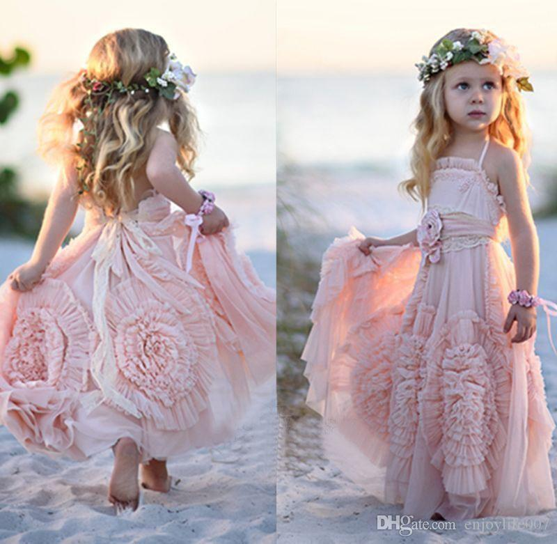 Pink Halter Little Girls Party Dresses 2018 Chiffon Ruffles Flower Girl For Beach Wedding Floor Length Pageant Gowns With Flowers