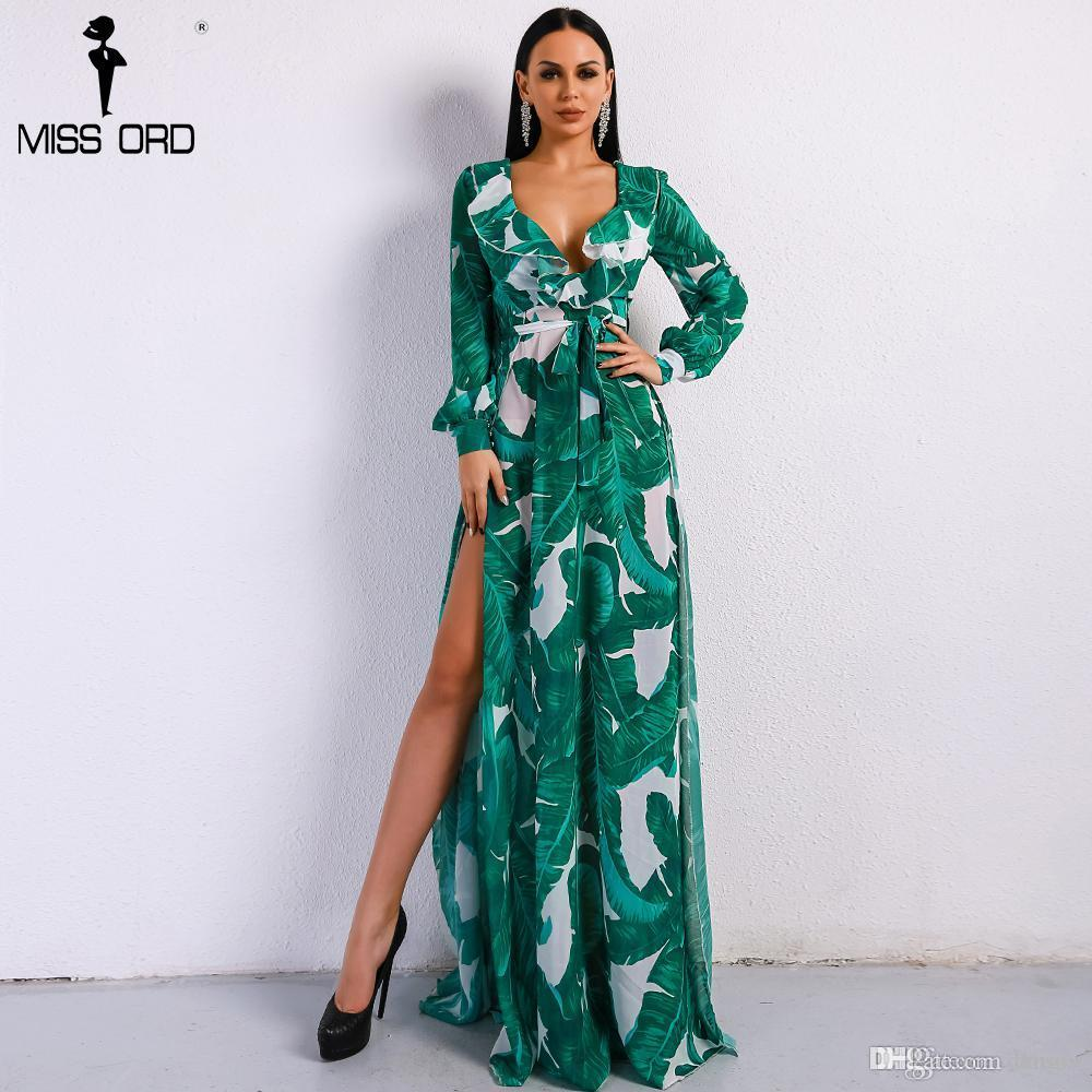 5bc03e8d51 Missord 2018 Summer Deep V Two Split Print Beach Dress Kafftan Long ...