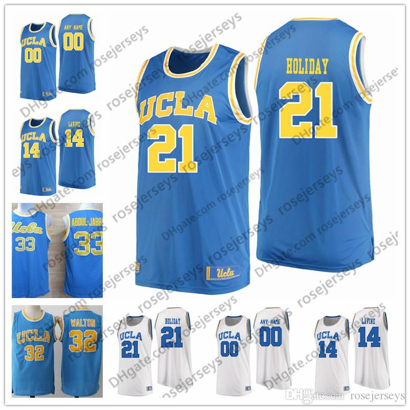 6f44f1d51 2019 NCAA UCLA Bruins  32 Bill Walton 33 Kareem Abdul Jabbar 21 Jrue  Holiday 14 Zach LaVine Blue Baby White Stitched College Basketball Jerseys  S From ...