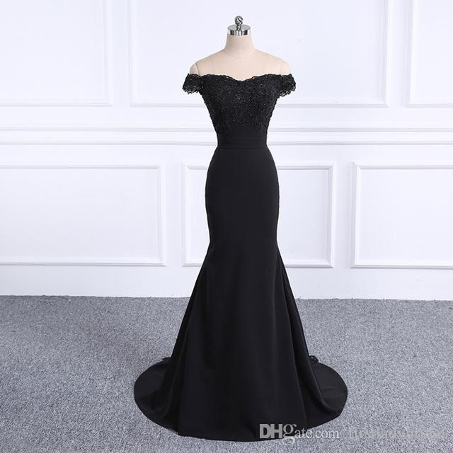 516b9ed6fd1 2019 Off Shoulder Black Evening Dresses Mermaid Actual Image Custom Made  Trumpet Special Occasion Prom Party Gowns Robe De Soiree Summer Evening  Dresses Uk ...