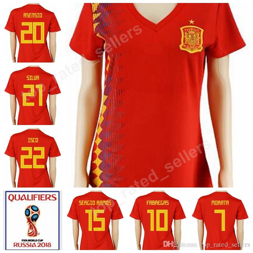 57d94b2c084b7 adidas Fabregas #10 Spain Home Womens Soccer Jersey World Cup Russia 2018  Sports & Outdoors Fan Shop