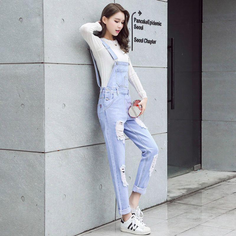 2019 S XL Jeans Women Jumpsuit Denim Romper Overalls Loose Long Trousers Light  Blue Ripped Denim Pants Rompers Womens B1281 From Yigu110 1976ef082d
