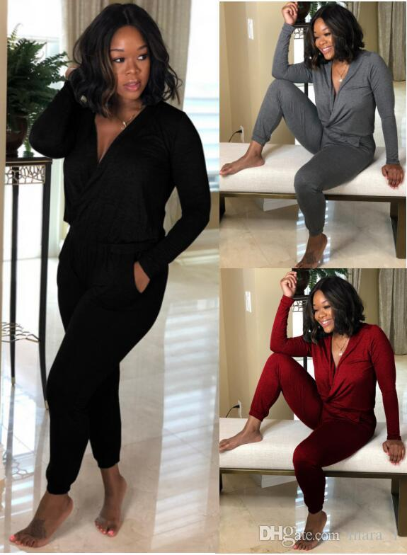 c0b8b0c2db430 2019 Women Long Sleeve Jumpsuit Rompers Capris Deep V Neck Sexy Overalls  Bodysuit Designer Women Fall Clothes Plus Size S 2XL From Mara_1, $13.07 |  DHgate.