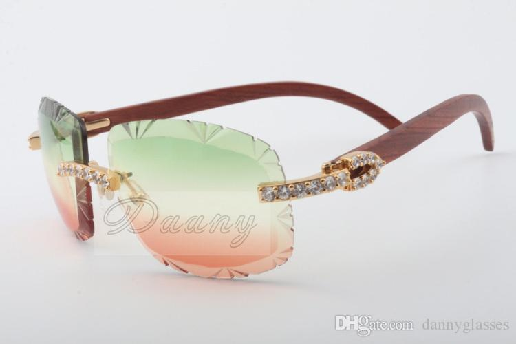 2019 Best-selling natural wood sunglasses, 8300075-A, high-end luxury color lens large diamond sunglasses Size: 58-18-135 Sunglasses