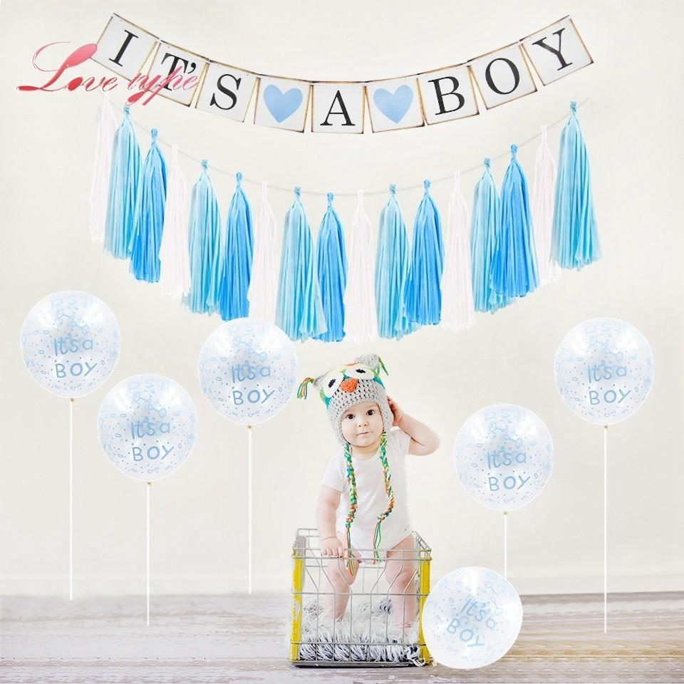 Decoration For Shower Its A Boy Girl Photo Booth Cake Topper Pompoms Birthday Baby First Party DIY Supplies Online Shopping