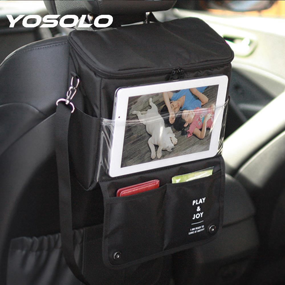 Wholesale YOSOLO Car Seat Back Organizer Storage Bag Portable Stowing Tidying Styling Multi Function Cold Insulation Auto Organizers Boxes