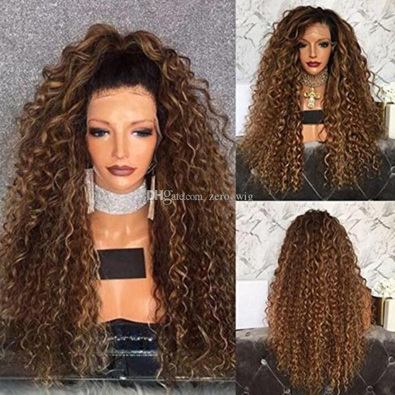 Honey Blonde Ombre Full Lace Human Hair Wigs Glueless Virgin Peruvian Kinky Curly Remy Hair Lace Front Wig Two Tone Color 1b 30