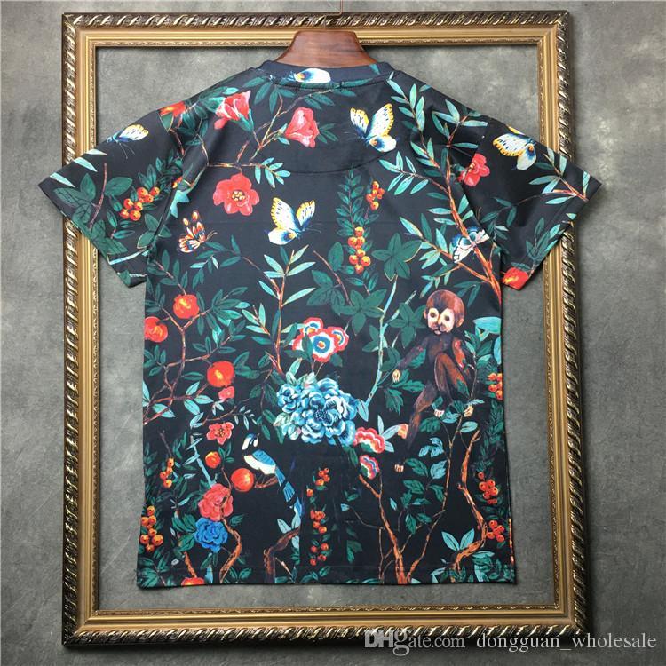 New Novelty 2018 Men gentleman Pastoral monkey family T Shirts T-Shirt Hip Hop Skateboard Street Cotton T-Shirts Tee Top #F89