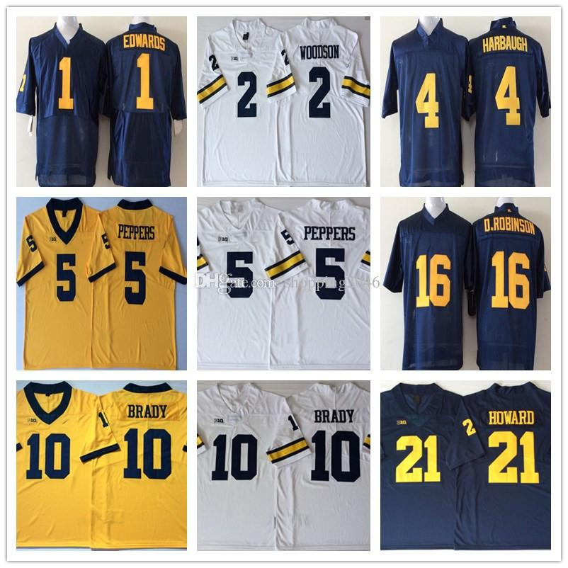 NCAA Michigan Wolverine 12 Tom Brady 2 Charles Woodson 4 Jim Harbaugh 5  Jabrill Peppers 16 Denard Robinson 21 Desmond Howard Jerseys UK 2019 From  ... 96a2b4055