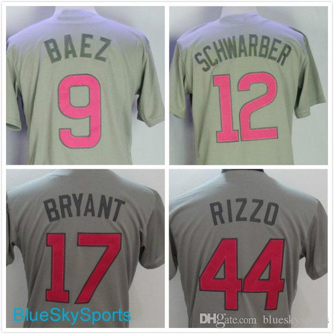4e2a4686977 ... mens 17 kris bryant 44 anthony rizzo jersey 9 javier baez 12 kyle  schwarber chicago gray