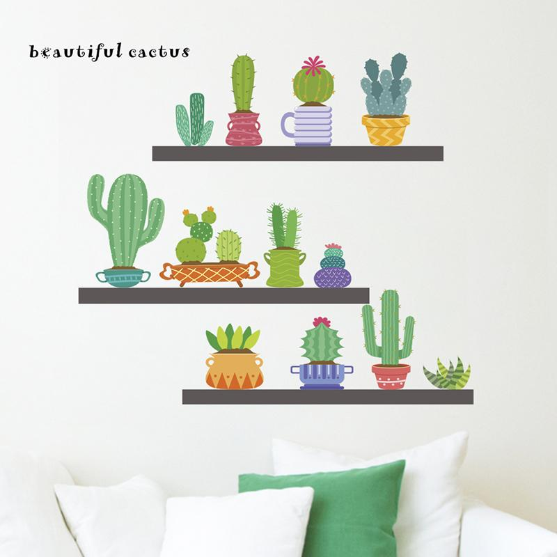 Beautiful Cactus Wall Stickers Home Decor Living Room Dining Decoration Accessories PVC DIY Plants Mural Art Decalshaif Sticker Letters