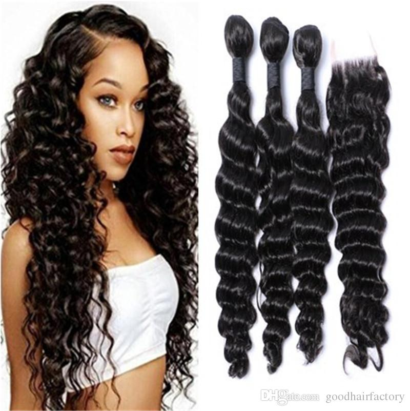 2018 Brazilian Deep Wave Curly Hair 3 Bundles With Closure French