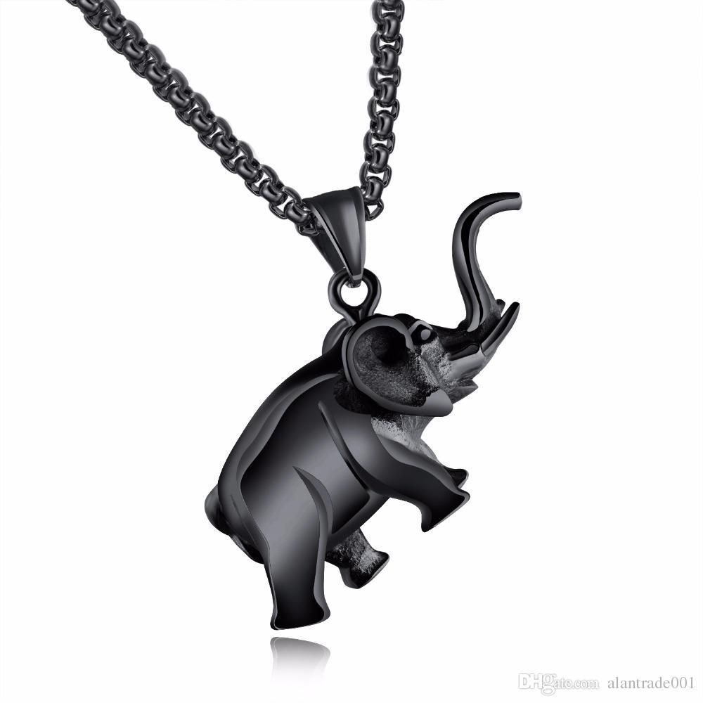 86c1f94814f2 Compre Joyería De Moda Hombre Collar Colgante Animal Cadena Caja Hombre  Acero Inoxidable Elefante Collares Colgantes Para Hombres Negro   Plata   Oro  Color ...