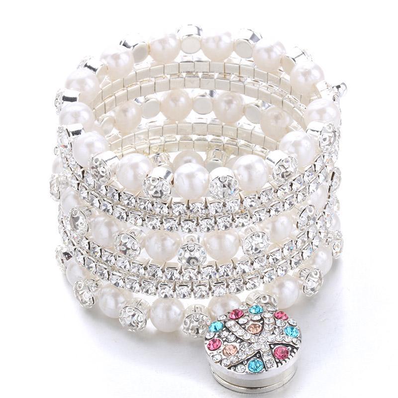 e4c98484dd30 Fainol xuan Moda Multilayer Glamorous personalidad Metal pulsera de perlas  de cristal elástico se adapta a 18 mm a presión joyería del botón A12-1
