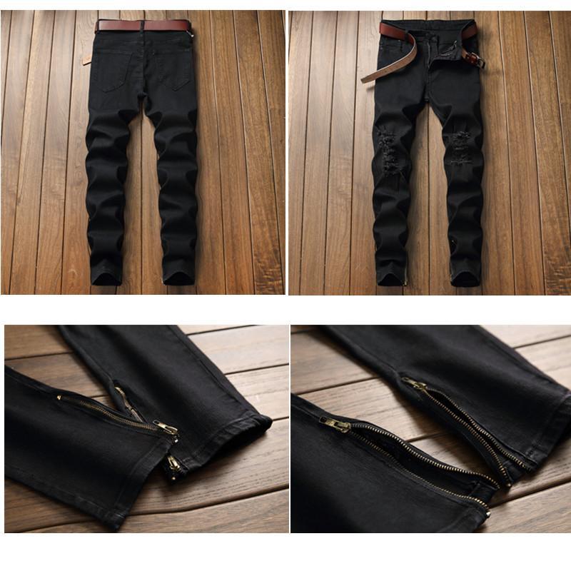 6c21184ffc Compre Moda Para Hombre Ripped Biker Jeans Diseñador De La Marca Apenado  Vintage Lavado Denim Pantalones Con Agujero Parche Plisado Robins Jeans Para  ...