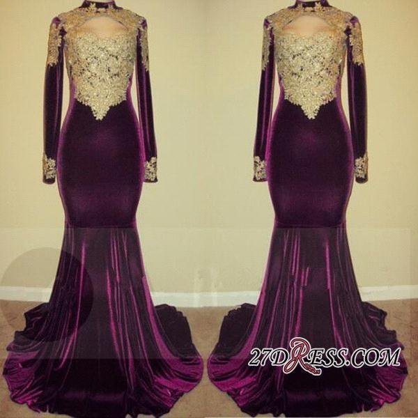 2020 Modest Grape Velvet High Neck Evening Dresses with Gold Appliqued Long Sleeves Mermaid Prom Gowns Vintage Vestidos BA7801