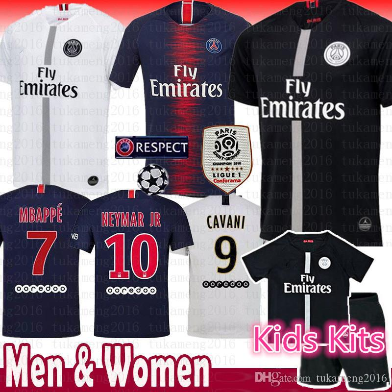 a02c23ebd 2019 2018 New Paris Saint Germain PSG Soccer Jersey 19 18 7 Mbappe 6  Verratti 9 Cavani 32 DANI ALVES 10 11 DI MARIA 2 T SILVA Football Shirts  From ...