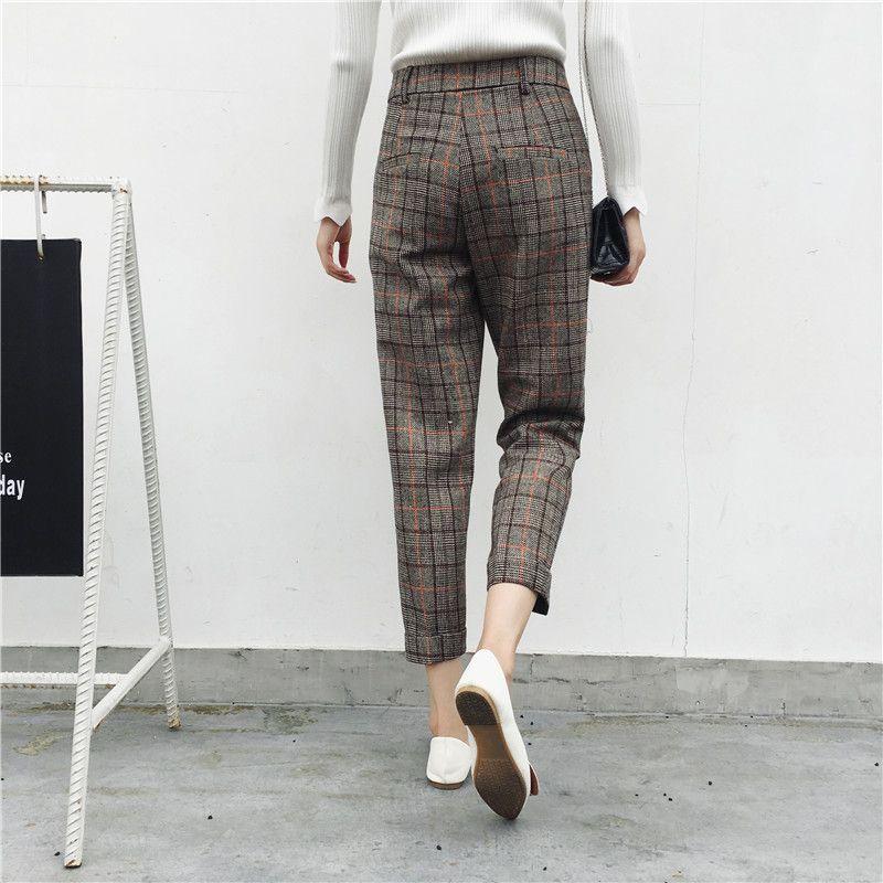 2017 Autumn New Design Trousers for Women England Plaid Harem Pants High Waist Women's Capris Leisure Female Trousers