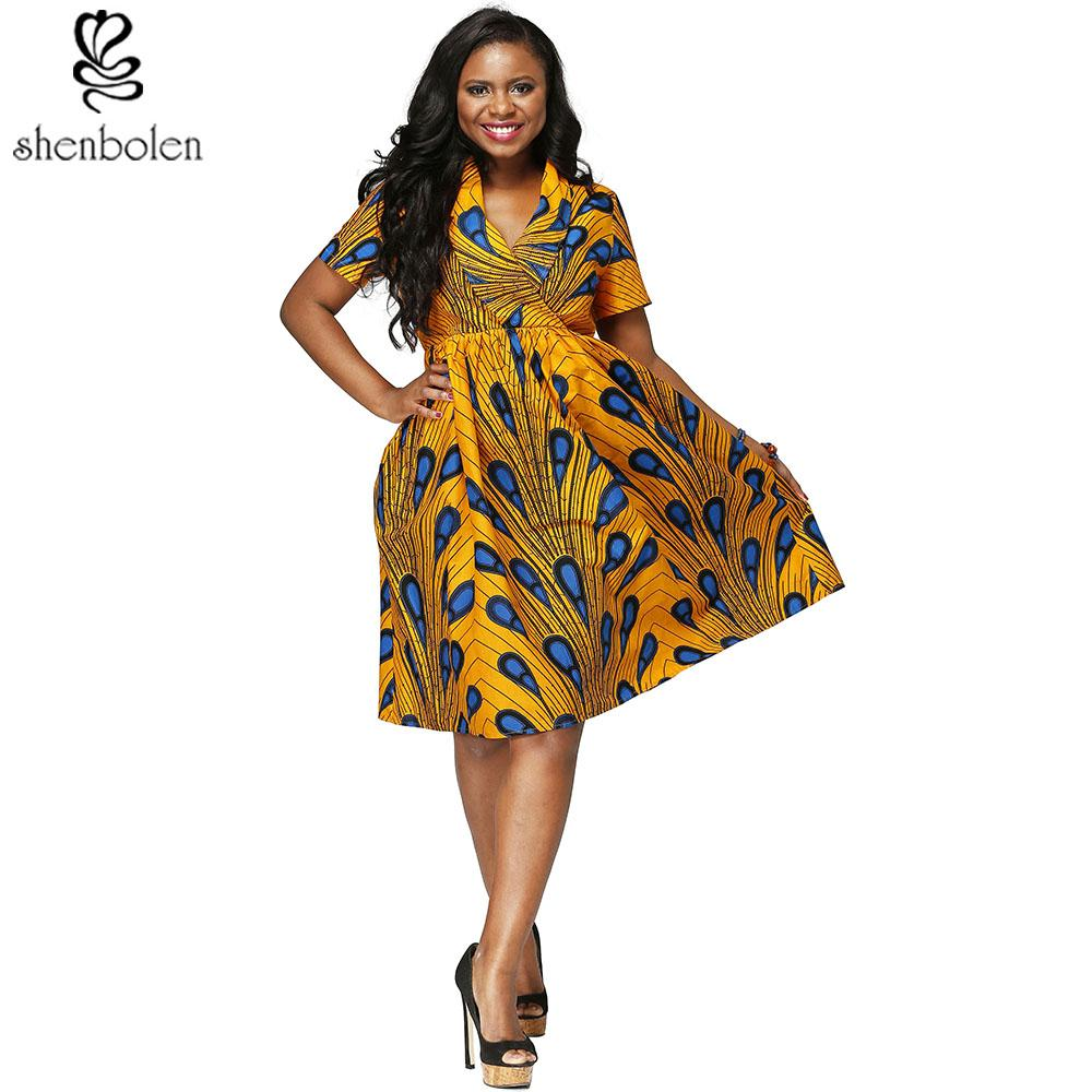 2018 African Women Clothes V Neck Ankara Wax Printing Fabric Batik Dresses Fashion Printing Short Sleeve Dress