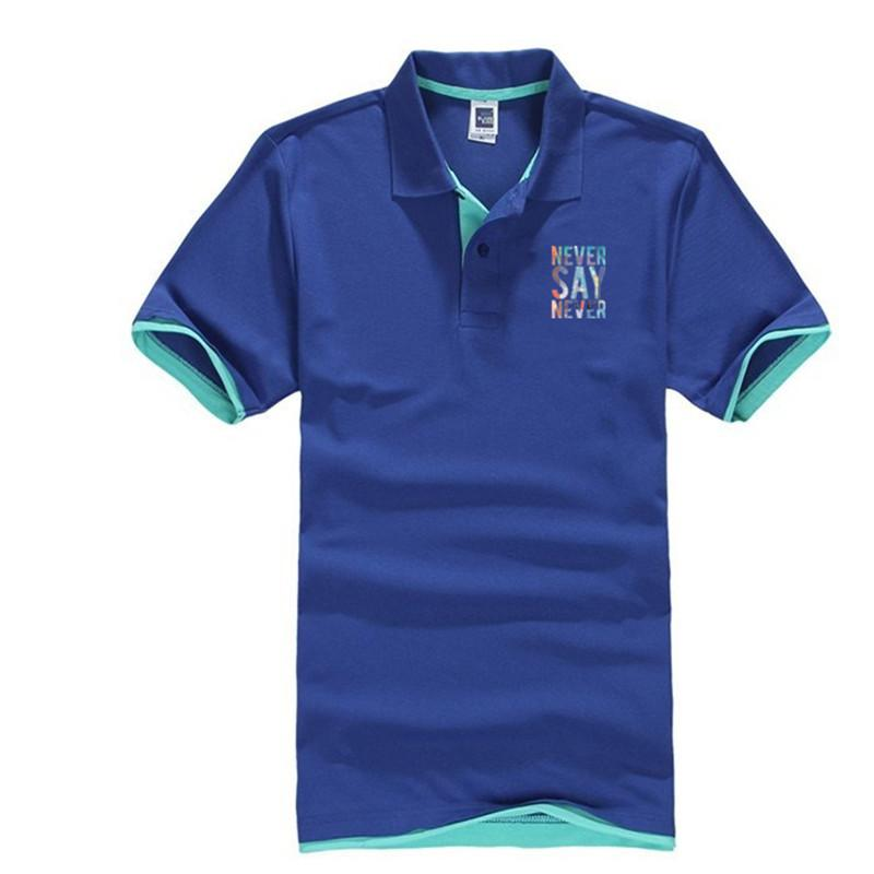 c716d74b1f21 2018 Fashion Short Sleeve Polo Shirt Men Turn Down Collar Never Say Never  Printing Casual Dry Fit Polo Shirts UK 2019 From Shuangyin002