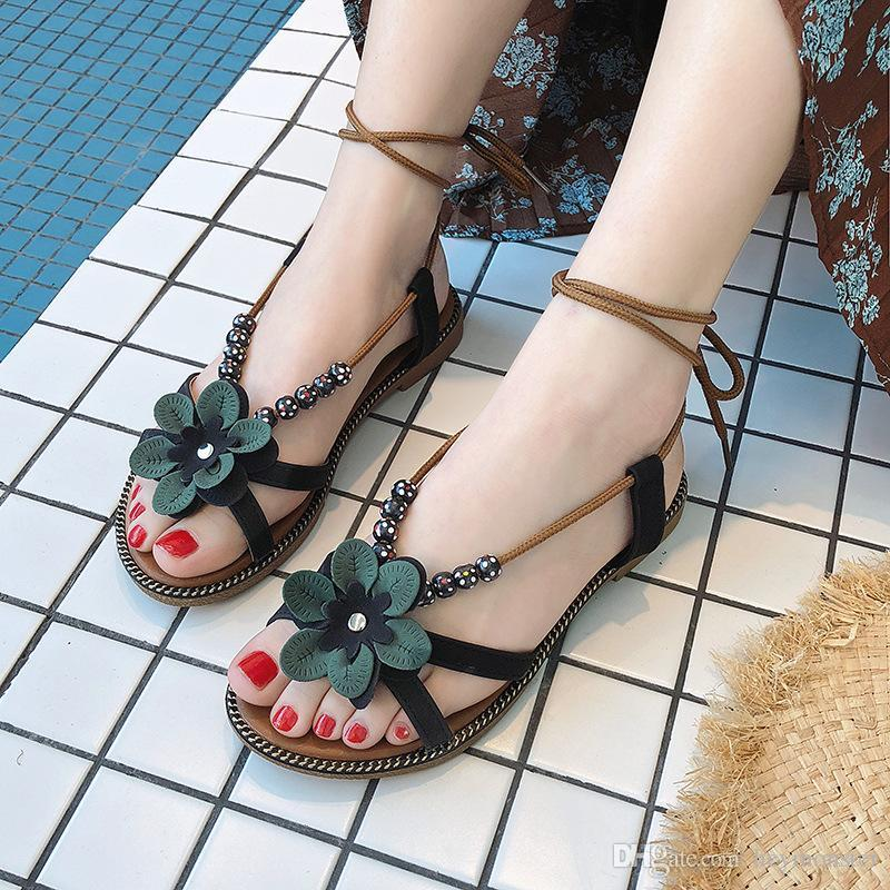 b9cf9624b Summer Hot Sale Women Flip Flops Fashion Solid Color Flower Flat Heel  Sandals Size 36 40 Outdoor Slipper Beach Shoes For Female Purple Shoes  Ladies Footwear ...