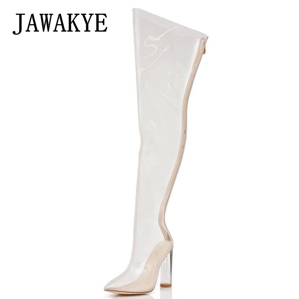46d0d51fe Sexy PVC Clear Chunky High Heels Thigh High Boots Transparent Shoes Woman  Sexy Pointed Waterproof Clear Long Boots Women High Heel Shoes Wedges Shoes  From ...