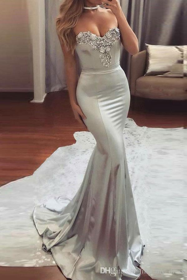 New Open Back Silver Gray Mermaid Sweetheart US2-26W++ Crystal Prom Dresses Formal Evening Gowns Modern Custom Made Pleats Draped Fantastic