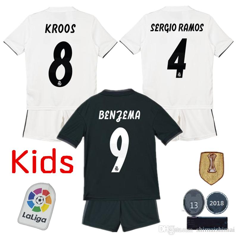 7ba45816787 2019 Kids Kit 2018 2019 Real Madrid Soccer Jersey Home White Away Black BALE  NAVAS RONALDO MODRIC ISCO RAMOS BENZEMA KROSS Boys Football Shirt From ...
