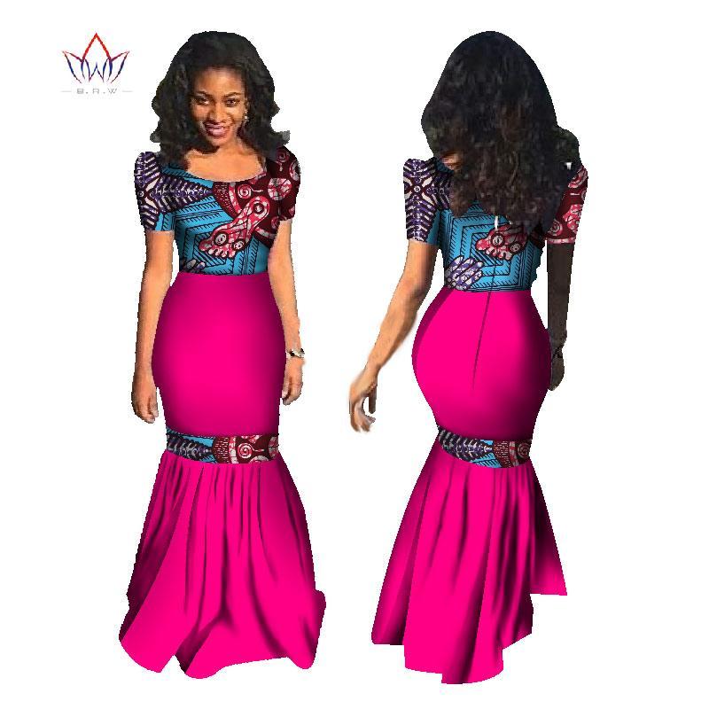 356d850e14 2019 BRW African Dresses Summer Women Mermaid Dress Long Dress Maxi Dress  Bazin Riche African Print Clothing Plus Size 6XL WY1177 From Bintarealwax,  ...