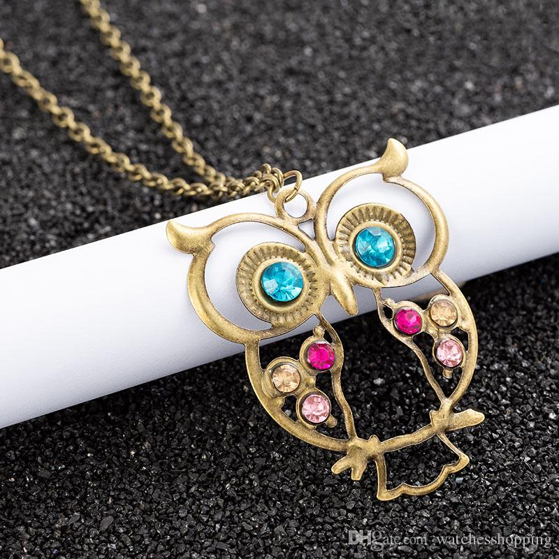 Fashion retro color hollow cute owl pendant necklace retro hollow carved sweater chain ladies long necklace