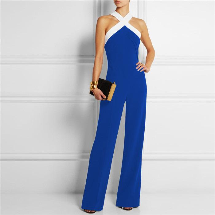 Jumpsuits for Women 2018 Hot Playsuit Overall Black White Stitching Women's Sexy slim Halter Full Length Pants Coveralls Rompers