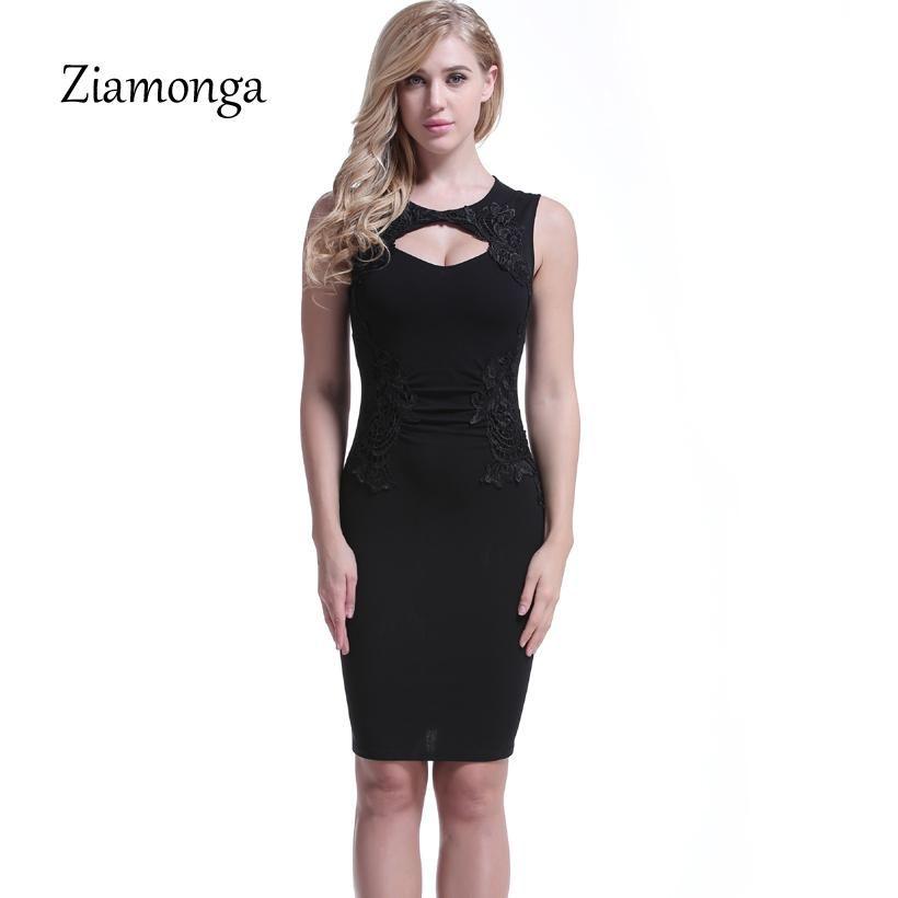 2019 Ziamonga Women Summer Dress Sexy O Neck Sleeveless Bodycon