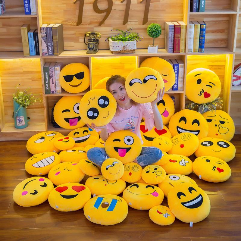 10PCS 30cm Emoji Warm Hand Hold Pillow Smiling Face QQ Plush Toys  Expression Custom Package Cushion National Day Gift AIJILE