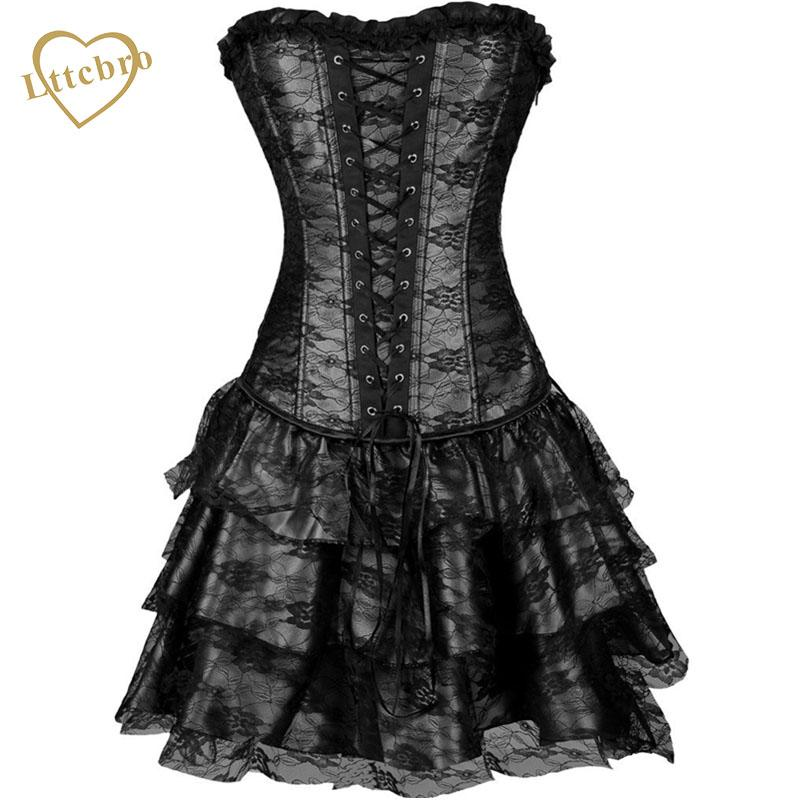 2019 Lace Corset Dress Punk Sexy Women Corset And Bustier Burlesque