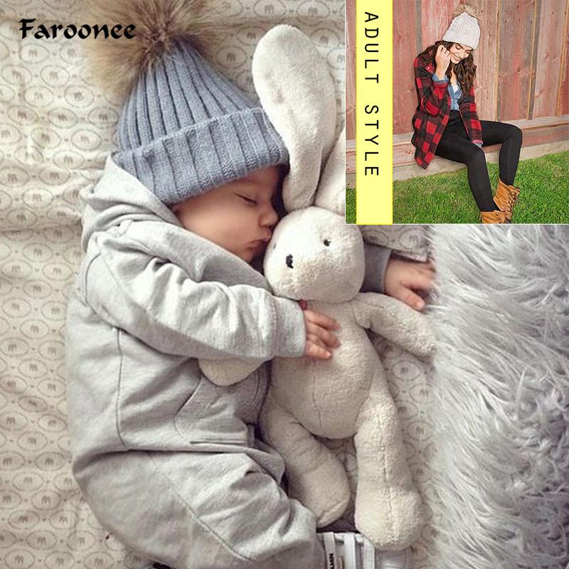 Faroonee 1PC Cute Winter Mom Women Baby Kids Girl Boy Newborn Crochet Knitted Hats Skull Caps Wool Fur Ball Pompom Beanies Hat