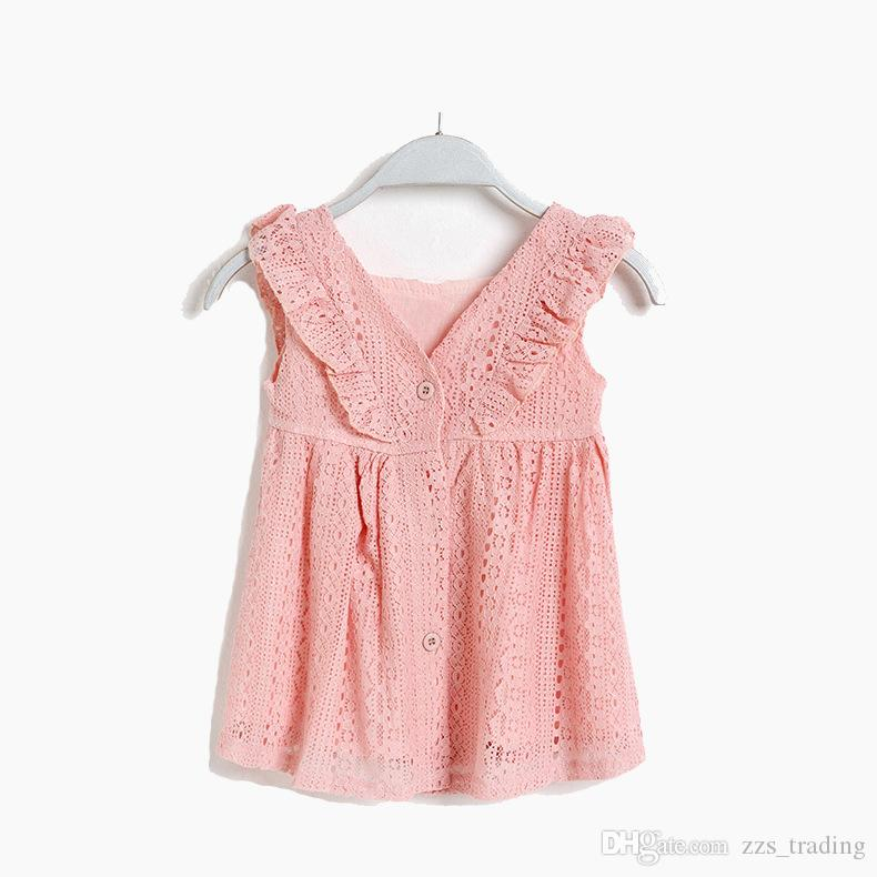 Girl Lace Flounce Floral Party Wedding Cute Flower Princess Dresses Infant Toddler Baby Girls Clothing Lace Dress 0-5 years