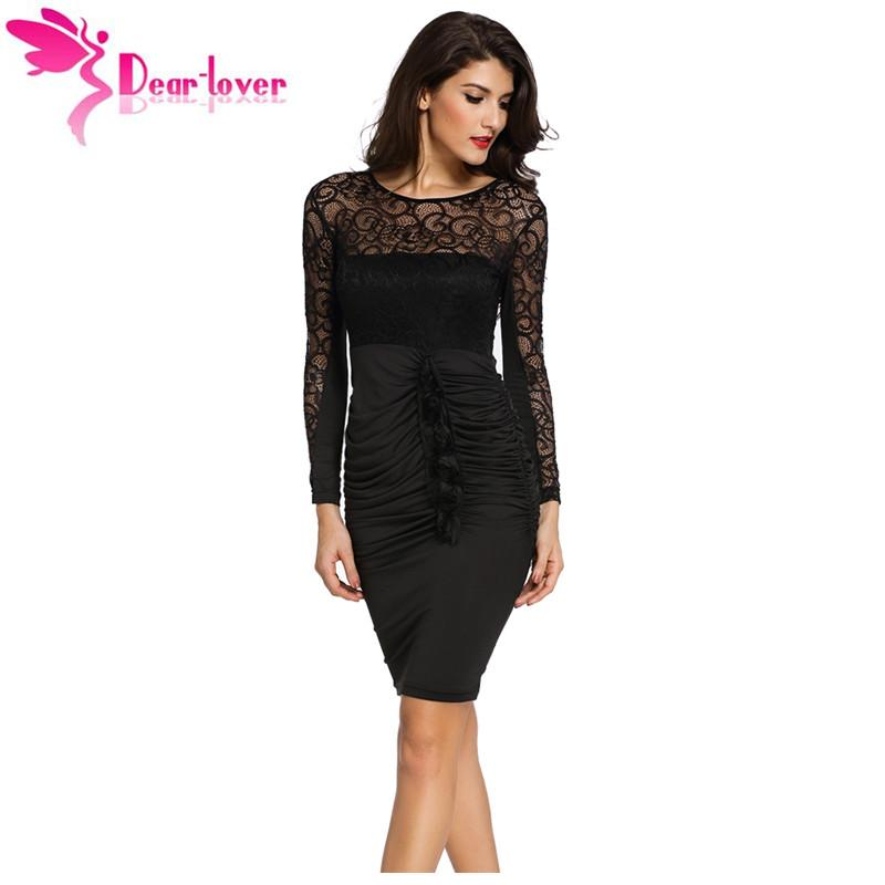 9f5a8059a5bb3 Dear Lover 2017 new autumn black sexy vestido de renda Floral Applique Lace  Ruched Bodycon Midi Dress with Long Sleeved LC60820