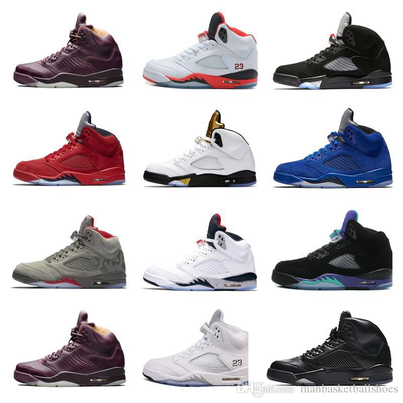 e4ce0aca38bb 2018 New Mann Basketball Shoes 5s Bred Space Jam White Cement Red ...