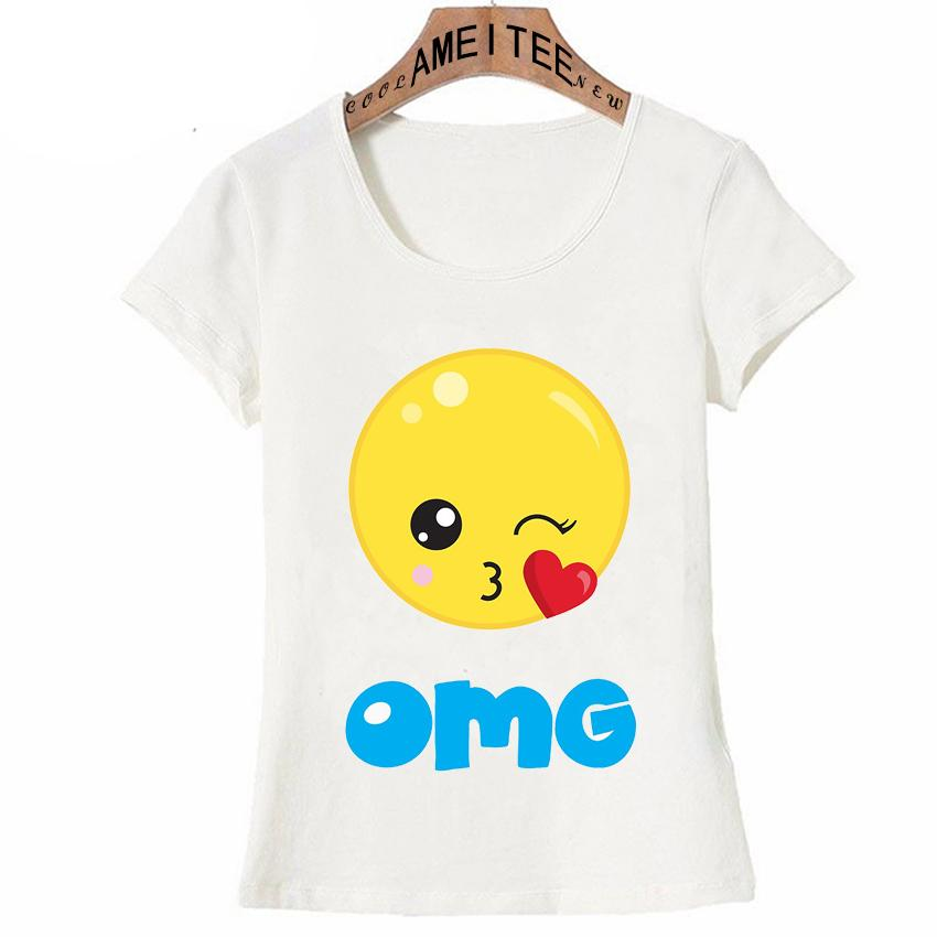 e141139286844 Kiss Emoji Love Design T Shirt Summer Fashion Women T Shirt Super Cute  Cartoon Girl Casual Tops Maiden Tees Funny Short Sleeve Cheap T Shirt  Design Your T ...