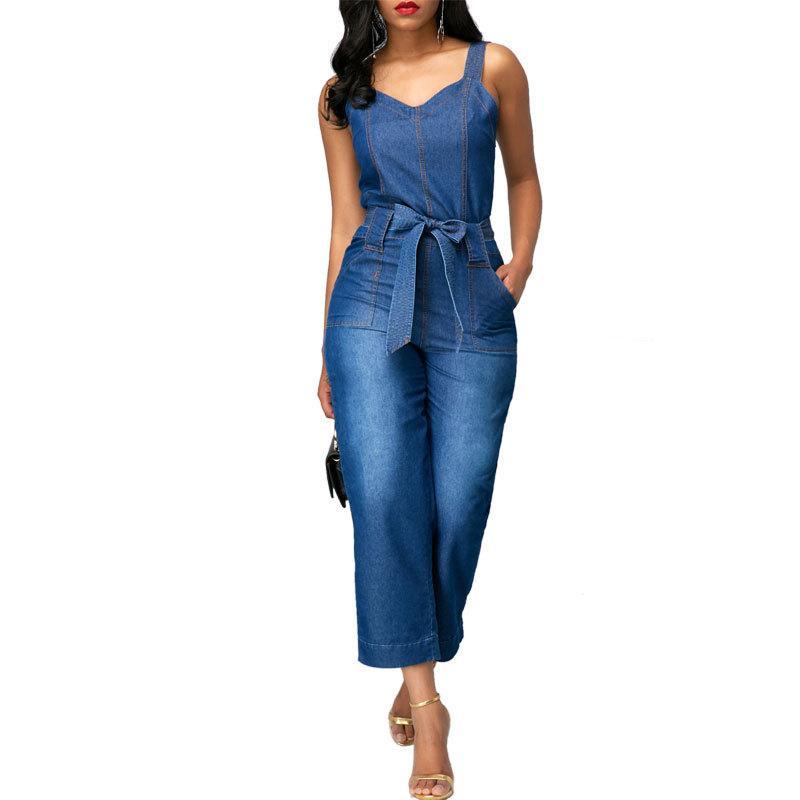 size 40 b96c6 8c73a Lguc.H Tuta Jeans per donna Tuta Jeans da ragazzo Pantaloni a vita alta  Jeans 2018 Pantaloni moda donna casual XS Caviglia blu