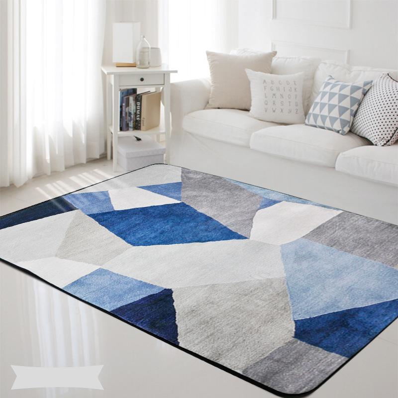 Compre Alfombras Geométricas Nordic Azul Gris Estampado Rectángulo ...