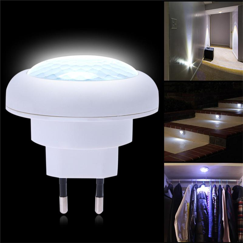 Modern Led Night Light Ac 220 240v Motion Sensor Night Light Wall Socket Lamp Luminaire Eu Plug Lamp For Bedroom