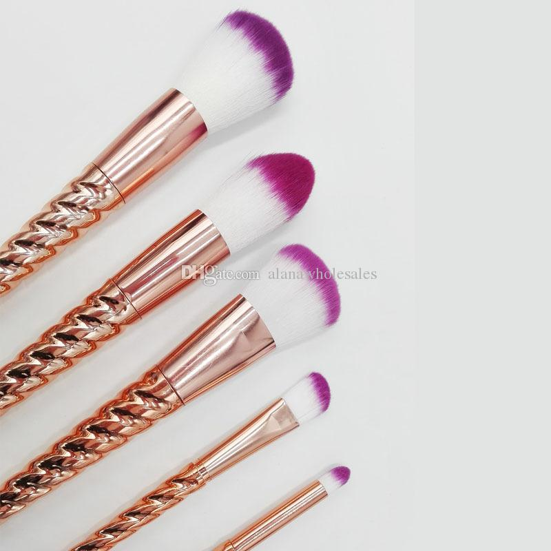 Unicorn Screw Gold Makeup Brushes Sets Cosmetics Brush Rose gold Spiral shank Make-up brush Makeup Tools