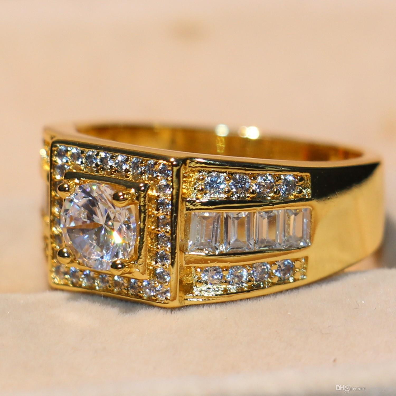 Regalo Anello Victoria Wieck nuovo arrivo Promessa Cristallo di lusso 10KT oro giallo riempito dito della principessa White Topaz CZ diamante originale uomini di fascia