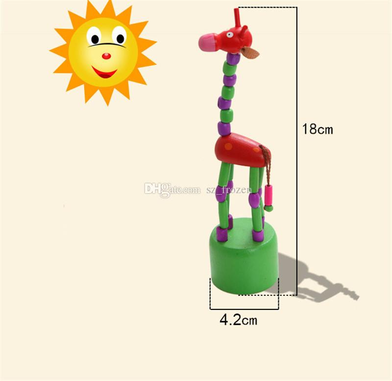 Giocattolo animale della bambola della bambola di 18cm di altezza del giocattolo della giraffa della bambola della roccia di legno che gioca i giocattoli della novità dei giocattoli 5 regali di originalità dei bambini dei bambini Liberi la nave