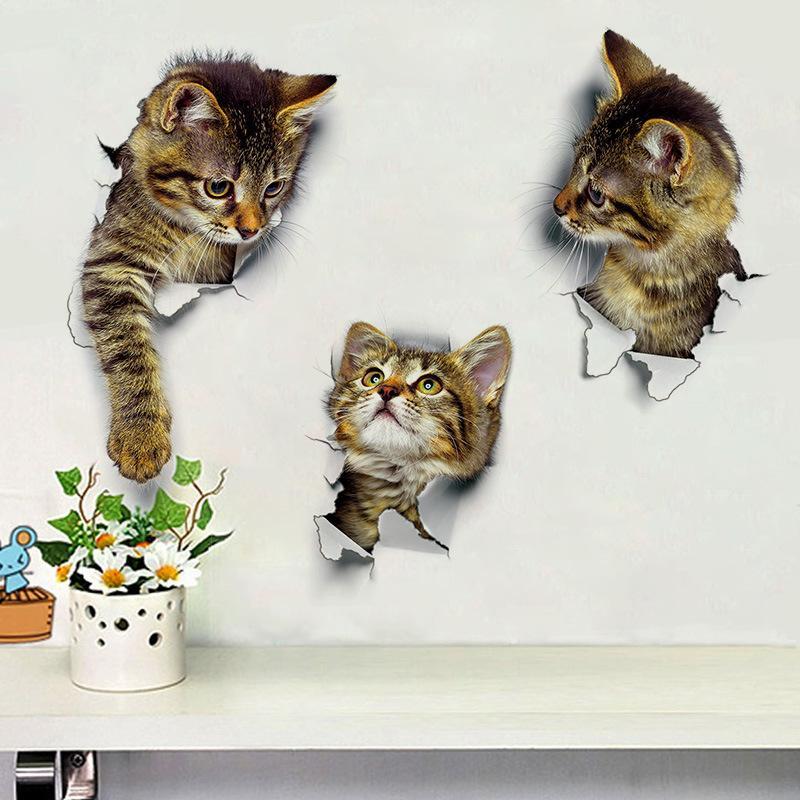 최신 홈 장식 고양이 3D 벽 스티커 구멍보기 화장실 스티커 고양이 홈 인테리어 PVC 벽 전사 술 이동식 아트 월페이퍼