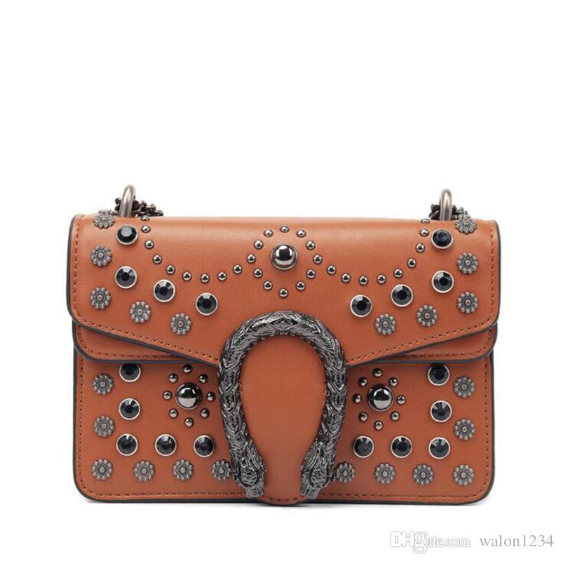 0277c155af Fashion Women Handbag Casual Shoulder Bag Snake Hasp Hobo Messenger Bag  Satchel Purse Studs Rivets Shoulder Bags Handbags On Sale From Walon1234