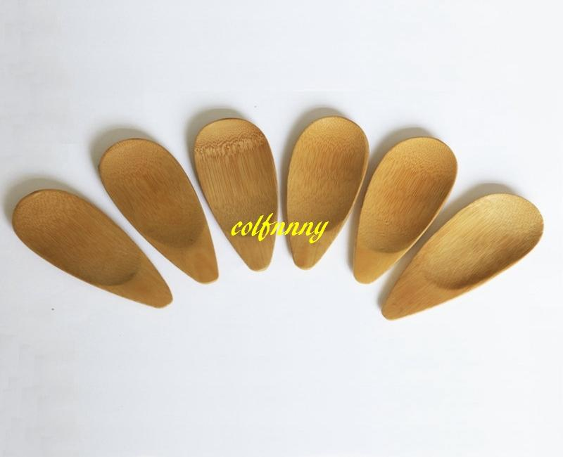 200 unids / lote 10x4 cm Cucharas de Té de Cuchara de Bambú Natural Mini Mango Corto Helado de Té Cuchara Eco Friendly Tea Tools