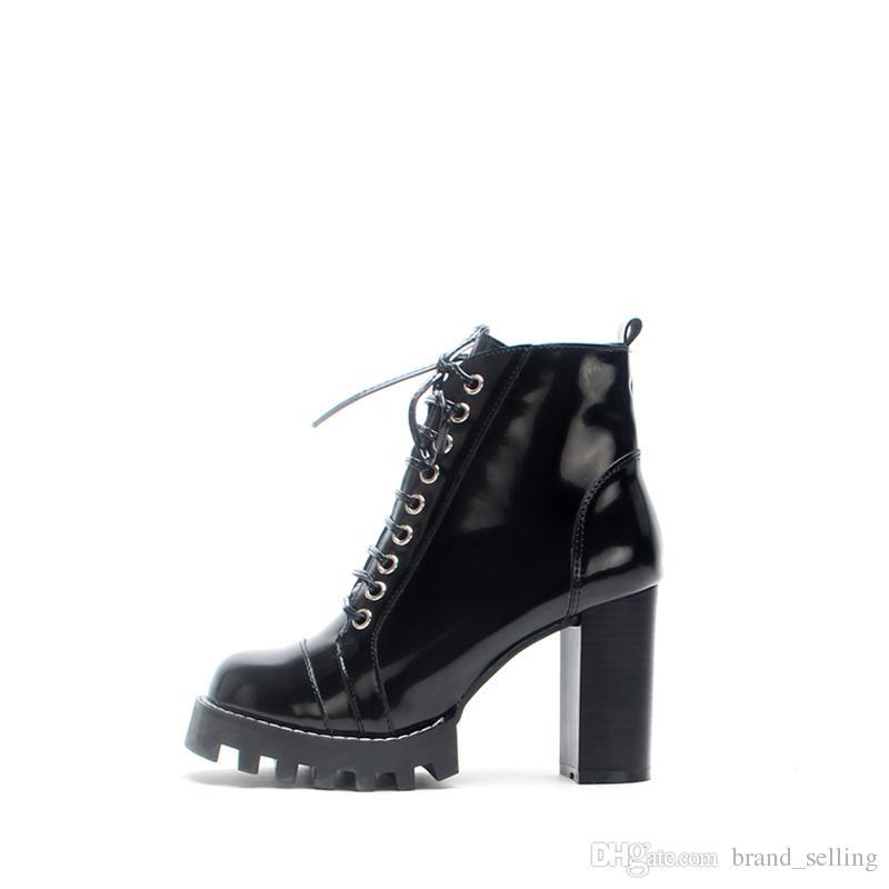 Martin Çizmeler rugan Siyah Süper Yüksek topuklu Bayan Dantel-Up Su Geçirmez Platformu ayakkabı Kızlar Chunkey topuk Yan Fermuar Ayak Bileği Çizmeler