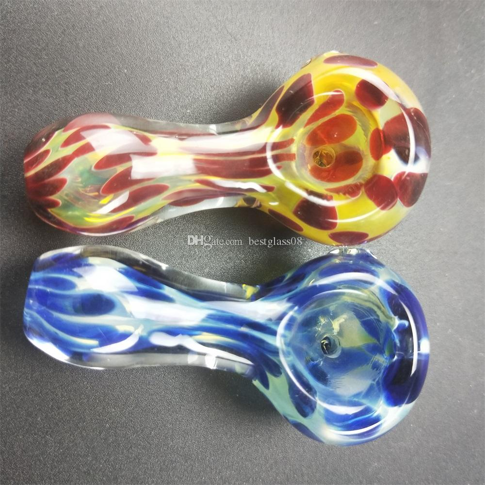 heady Spoon Pipe Flower Hand pipes for smoking cheap silicone wholesale colored glass smoking tobacco hand heady pipes pocket